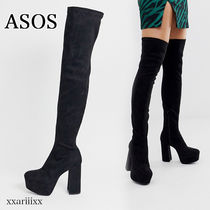 ASOS Round Toe Casual Style Suede Blended Fabrics Plain