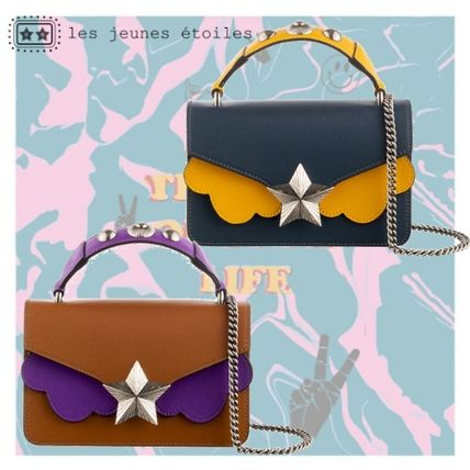 Star Casual Style Studded Chain Leather Handbags