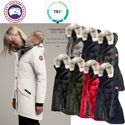 Street Style Long Eco Fur Logo Down Jackets
