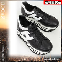 HOGAN Round Toe Rubber Sole Lace-up Casual Style Street Style