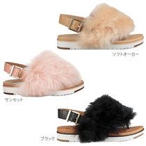 UGG Australia HOLLY Open Toe Rubber Sole Casual Style Suede Fur Blended Fabrics