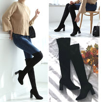 Round Toe Casual Style Suede Plain Chunky Heels
