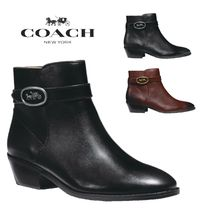 Coach Round Toe Rubber Sole Casual Style Plain Block Heels