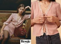 Rouje Flower Patterns Blended Fabrics Puffed Sleeves Cropped Lace