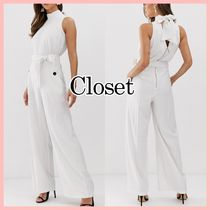 closet Dungarees Stripes Sleeveless Long Party Style High-Neck