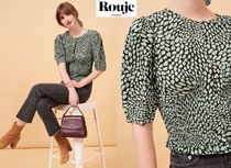 Rouje Puffed Sleeves Bi-color Cropped Elegant Style