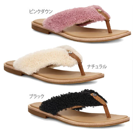 Open Toe Rubber Sole Casual Style Fur Blended Fabrics Plain