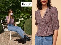 Rouje Flower Patterns Puffed Sleeves Cropped Elegant Style