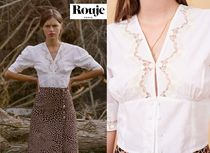 Rouje Flower Patterns Puffed Sleeves Cropped Cotton Lace