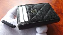 CHANEL ICON Unisex Leather Long Wallet  Coin Cases