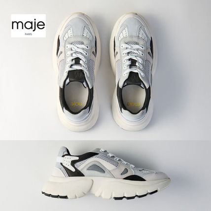 maje Low-Top Blended Fabrics Leather Low-Top Sneakers
