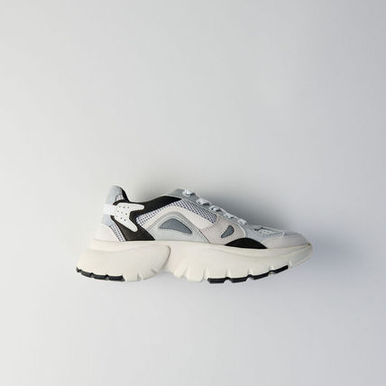 maje Low-Top Blended Fabrics Leather Low-Top Sneakers 2