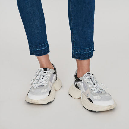 maje Low-Top Blended Fabrics Leather Low-Top Sneakers 3