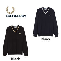 FRED PERRY Wool V-Neck Long Sleeves Sweaters