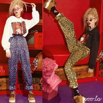 ELF SACK Leopard Patterns Street Style Long Pants