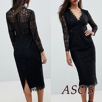 ASOS Tight V-Neck Cropped Long Sleeves Medium Party Style Lace
