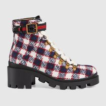 GUCCI Other Plaid Patterns Rubber Sole Casual Style Tweed