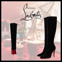 Christian Louboutin Eloise Velvet Pin Heels Elegant Style Over-the-Knee Boots