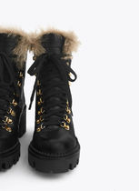 Uterque Mountain Boots Rubber Sole Fur Leather Outdoor Boots