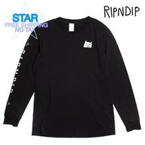 RIPNDIP Crew Neck Pullovers Unisex Street Style Long Sleeves Cotton