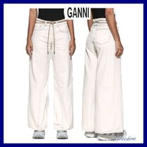 Ganni Street Style Plain Cotton Long Wide & Flared Jeans