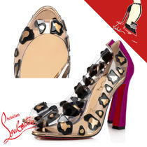 Christian Louboutin Leopard Patterns Open Toe Casual Style Other Animal Patterns