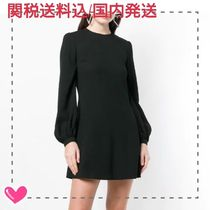 Saint Laurent Crew Neck Short Silk Flared Long Sleeves Plain Elegant Style