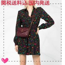 Saint Laurent Short Star Silk V-Neck Long Sleeves Elegant Style Dresses
