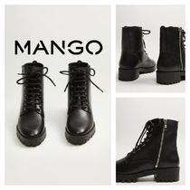 MANGO Square Toe Platform Leather Ankle & Booties Boots