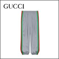 GUCCI Stripes Blended Fabrics Street Style Plain Oversized Pants