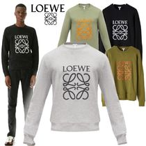 LOEWE Crew Neck Long Sleeves Plain Cotton Khaki Sweatshirts