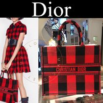 Christian Dior BOOK TOTE Other Plaid Patterns Casual Style Canvas Street Style A4