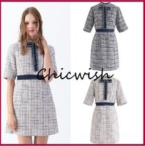 Chicwish Short Other Check Patterns Tight Tweed Blended Fabrics