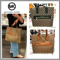 Michael Kors Monogram Casual Style Canvas Blended Fabrics A4 2WAY