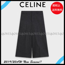 CELINE Casual Style Wool Blended Fabrics Plain Office Style