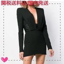 Saint Laurent Short Silk V-Neck Long Sleeves Plain Dresses