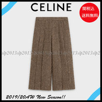 CELINE Other Check Patterns Casual Style Wool Blended Fabrics
