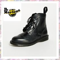 Dr Martens DELPHINE Round Toe Casual Style Unisex Street Style Plain Leather