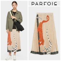 PARFOIS Dots Casual Style Pleated Skirts Other Animal Patterns