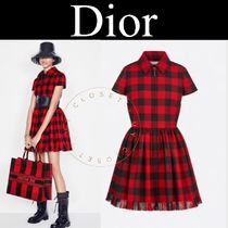 Christian Dior Short Other Plaid Patterns Casual Style A-line Wool