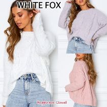 WHITE FOX Crew Neck Cable Knit Casual Style Long Sleeves Plain Medium