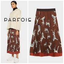 PARFOIS Zebra Patterns Casual Style Pleated Skirts Medium