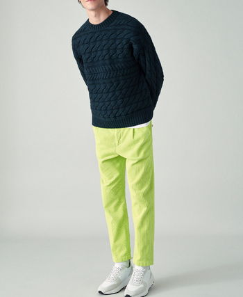 Crew Neck Cable Knit Wool Long Sleeves Vests & Gillets