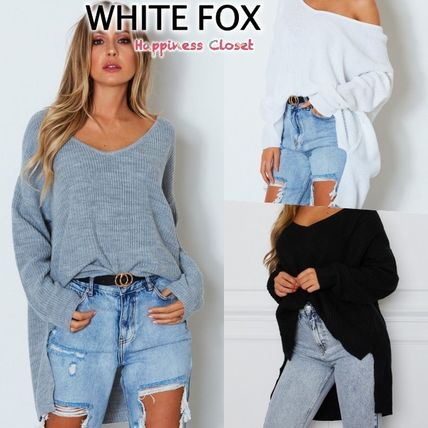 Casual Style Wool V-Neck Long Sleeves Plain