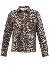Ganni Leopard Patterns Long Sleeves Cotton Shirts & Blouses