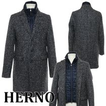 HERNO Other Check Patterns Wool Blended Fabrics Long Chester Coats