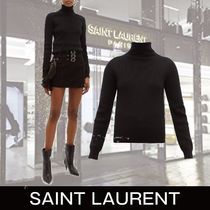 Saint Laurent Casual Style Cashmere Long Sleeves Plain Medium Turtlenecks