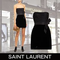 Saint Laurent Short Tight Velvet Plain Dresses