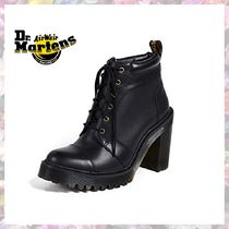 Dr Martens Lace-up Casual Style Plain Leather Block Heels