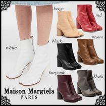 Maison Martin Margiela Tabi Casual Style Plain Leather Block Heels Ankle & Booties Boots